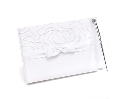 10038 satin and swirls ivory guest book and pen set