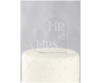 A91717 heart mr. and mrs acrylic cake topper