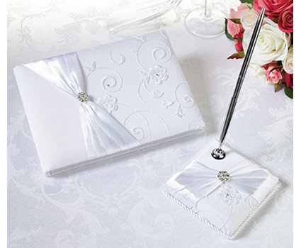 GB385 white lace guest book and pen set