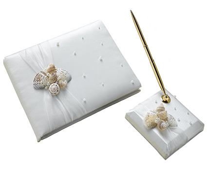 GB442 seashell guest book and pen set