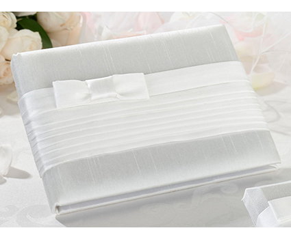 GB520W pleated white guest book