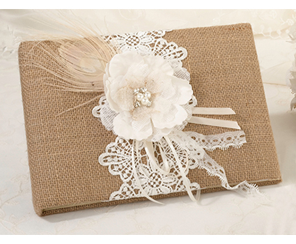 GB560 burlap and lace guest book